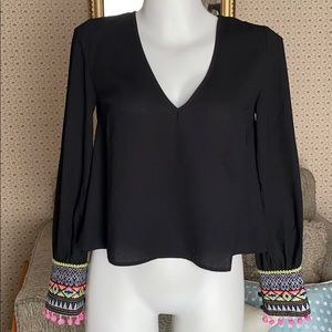 Black v neck embroidered cuff long sleeve